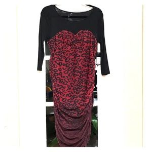 Guess XL red blk cheetah print dress